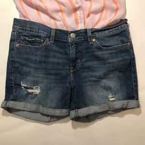 Levi's Distressed Denim Cutoff Roll Cuff Shorts